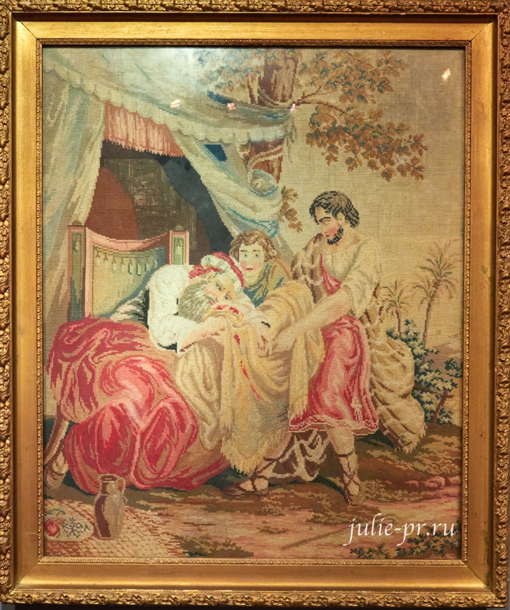 Сыновья Иакова приносят окровавленную одежду брата Иосифа отцу, 1-я половина XIX века, Франция, вышивка крестом, вышивка шерстью и бисером, выставка Старинные вышивки