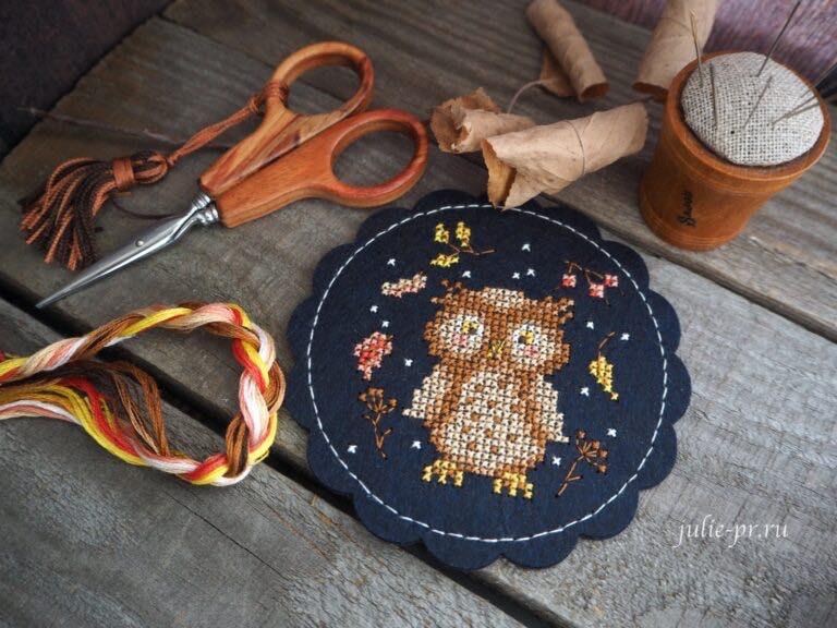 вышивка крестом на перфорированной фетре, Дивная вишня, подстаканник, подставка под чашку, Сова