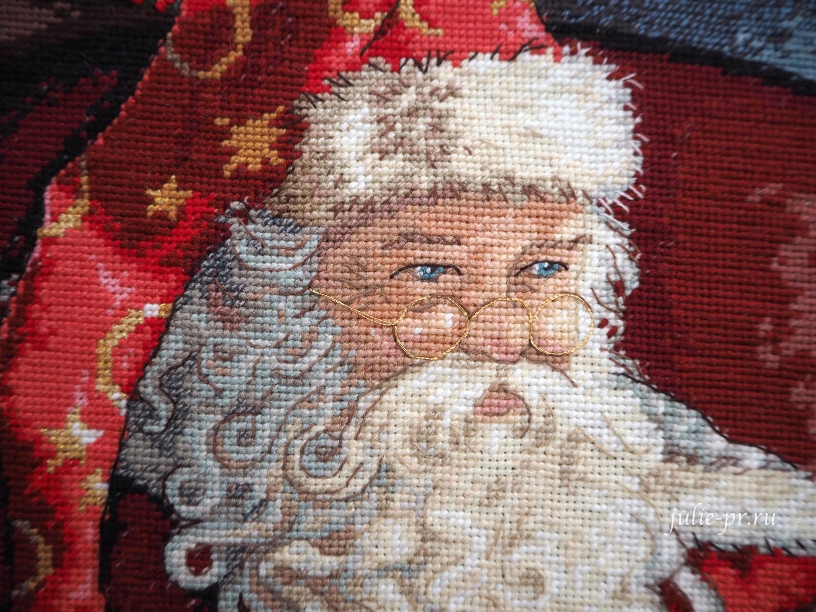 Dimensions 8803, One Christmas Eve, вышивка крестом, в канун рождества, Санта Клаус с глобусом, раритетный набор, в сочельник