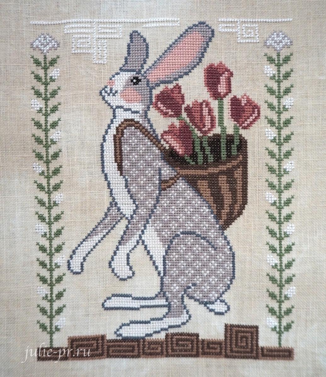 вышивка крестом, примитив, Cottage Garden Samplings, Basketful of Love, A time for all seasons 4, заяц с корзиной тюльпанов, тюльпаны, корзина любви