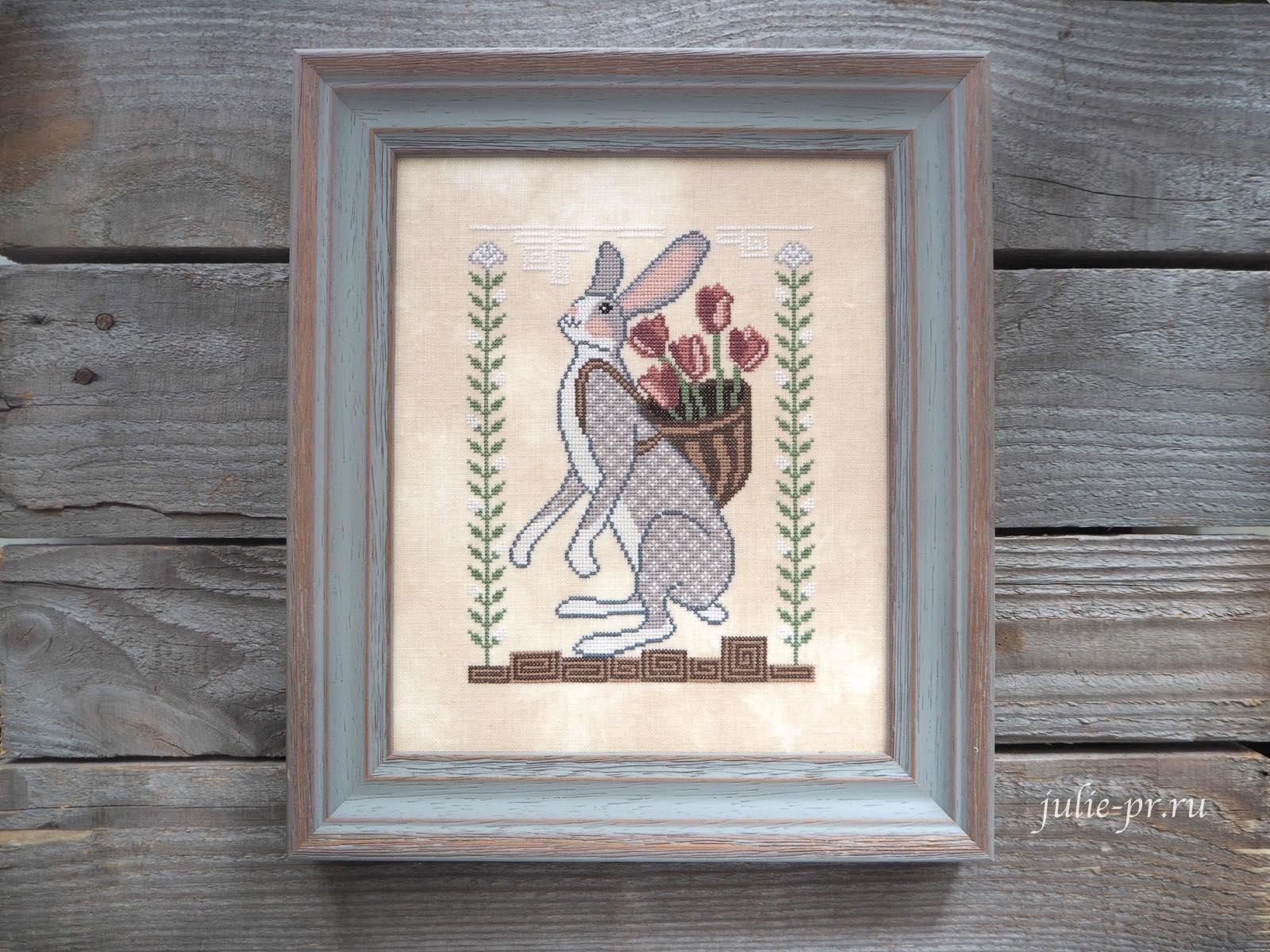 вышивка крестом, примитив, Cottage Garden Samplings, Basketful of Love, A time for all seasons 4, заяц с корзиной тюльпанов, тюльпаны, корзина любви, как оформить