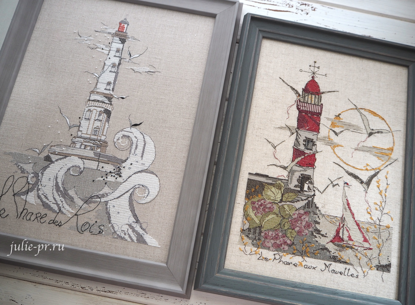 Soizic, Le Phare des Rois, Кордуанский маяк, Phare de Cordouan, вышивка крестом, белый маяк, французская вышивка, оформление, красный маяк с чайками, Le phare aux mouettes