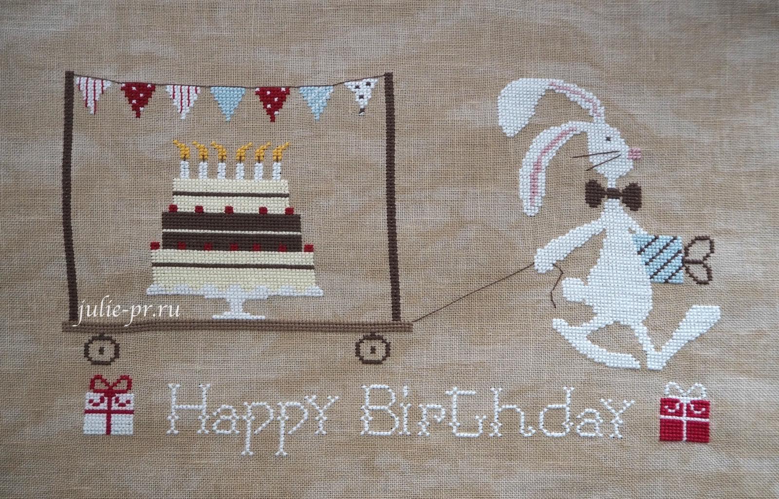 вышивка крестом, Madame Chantilly, Happy Birthday, С днем рождения, заяц с тортом