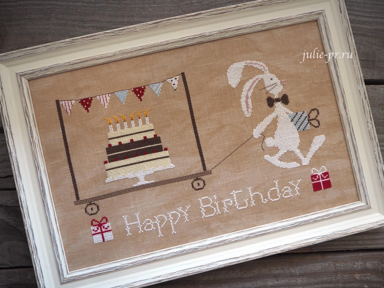 вышивка крестом, Madame Chantilly, Happy Birthday, С днем рождения, заяц с тортом, сербский деревянный багет, оформление вышивки