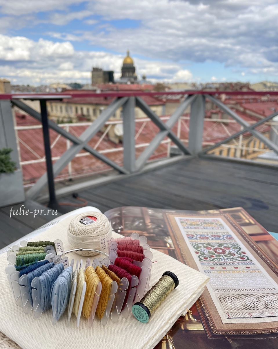 Английский семплер, Sandy Orton, вышивка крестом, English Sampler, ресторан Небо и вино, Санкт-Петербург, Исаакиевский собор