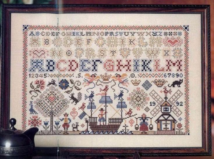Sandy Orton, Netherlands sampler, Нидерландский семплер, голландский семплер, вышивка крестом, Treasures in needlework