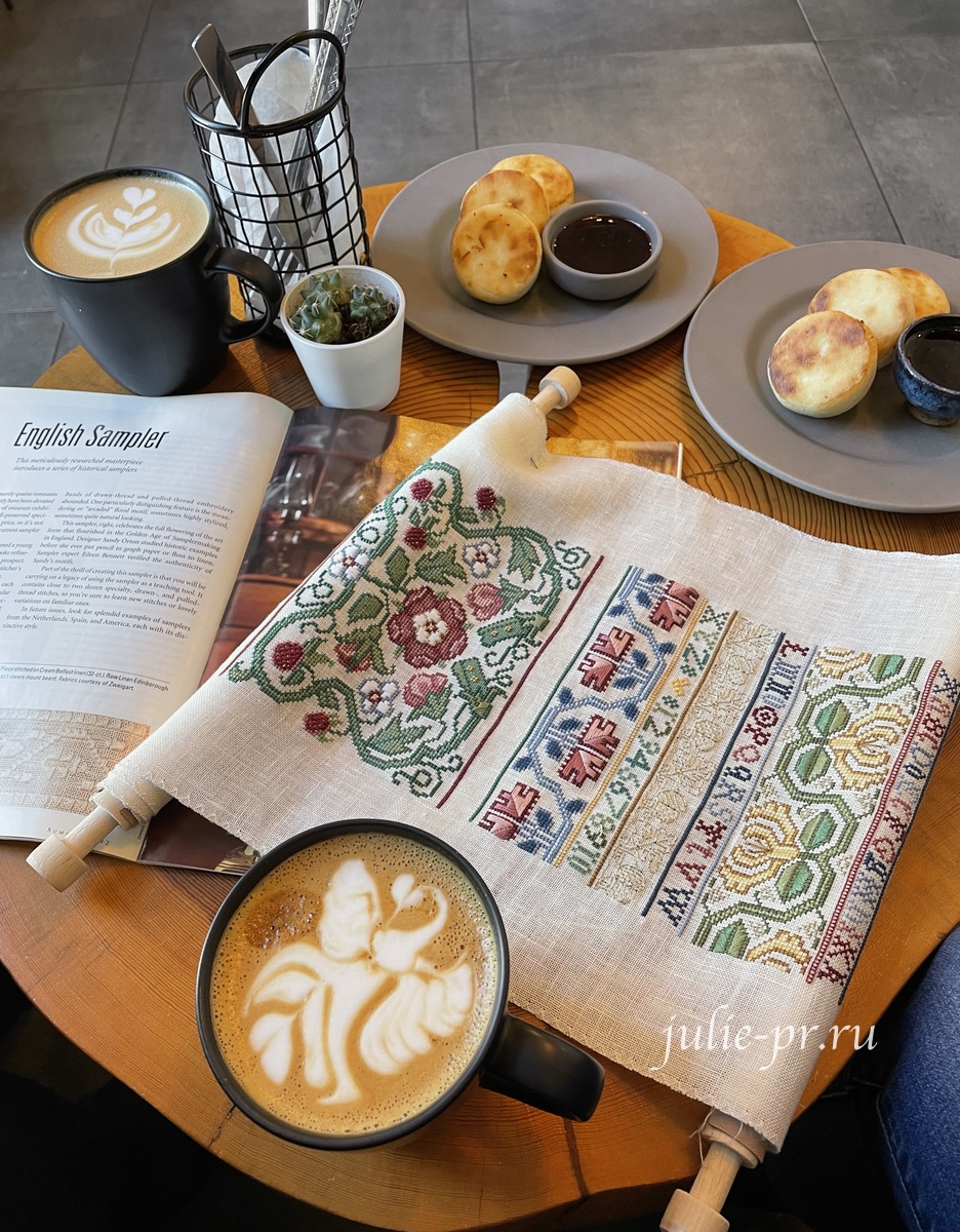 вышивка крестом, English sampler, Английский семплер, Sandy Orton, Сэнди Ортон, кофейня MNTN Coffee, вышивка и кофе