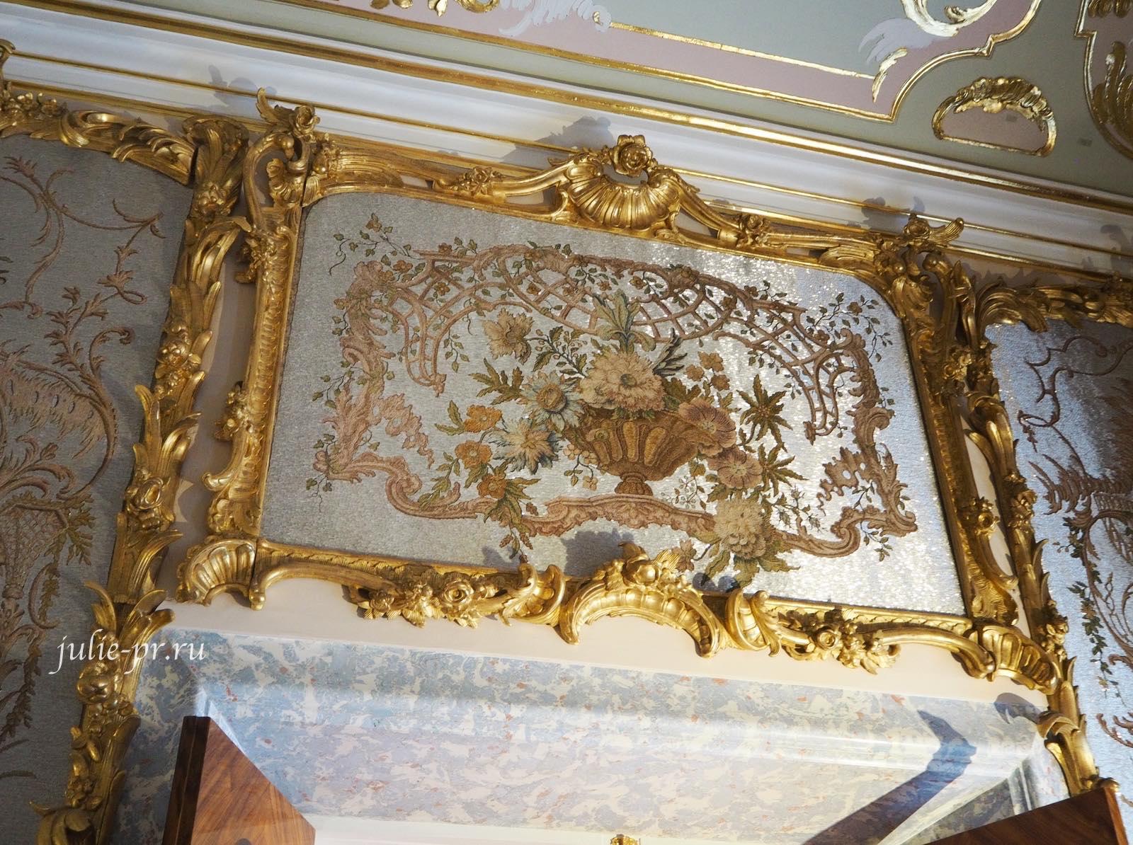 Ораниенбаум, Ломоносов, Китайский дворец, стеклярусный кабинет, вышивка гладью, вышивка стеклярусом, синель