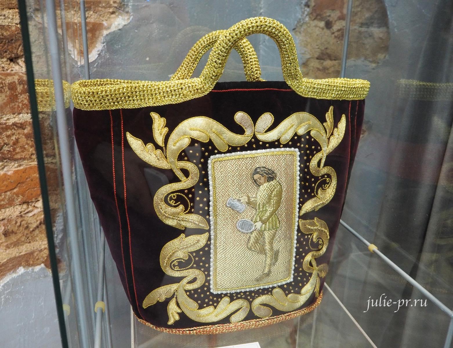Выставка Цветная матрица мечты, Музей Русский Левша, золотная вышивка, золотное шитье, сумка, Санкт-Петербург